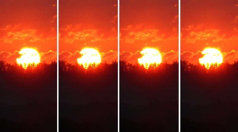 Montage of four sunrises