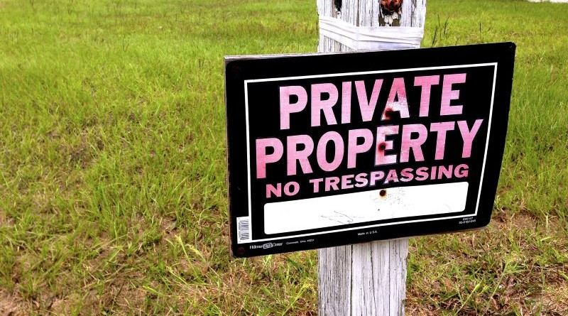 Photo of sign that says Private Property: No Trespassing