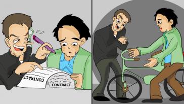 Cartoon depicting a thief defrauding a victim