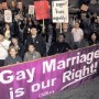 Photo of banner at a demonstration, saying gay marriage is our right