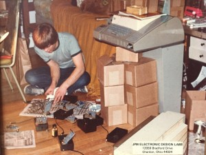 Photo of me c. 1978 assembling circuit testers on my bedroom floor