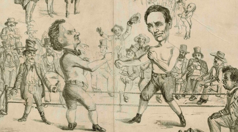 Cartoon of Lincoln and Douglas boxing