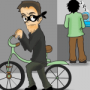 Cartoon of a man stealing a bicycle