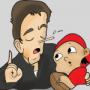 Cartoon of man lying to child