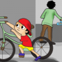 Cartoon of a child taking someone's bicycle