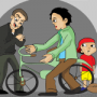 Cartoon of man giving a bicycle to another