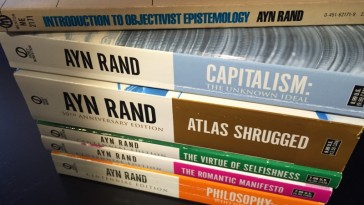 Photo of a stack of Ayn Rand's works